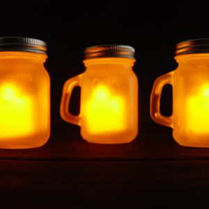 3 Piece Mini Warm Flameless Mason Jar Tealight Set