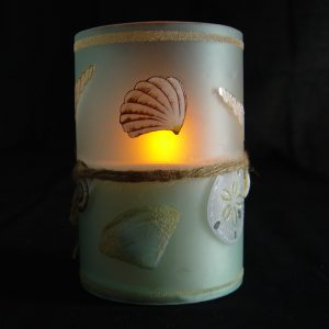 Hand Painted Glass Led Seashell Candle with Timer