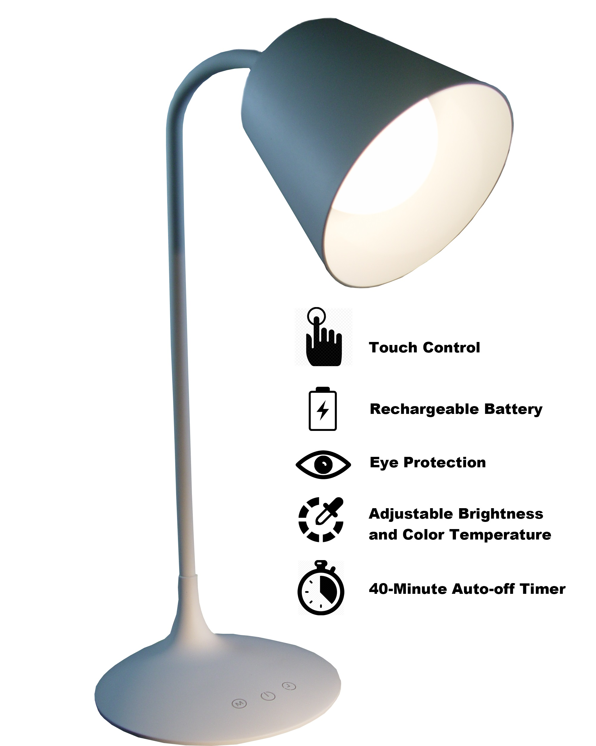 White Classic Style Led Rechargeable Table Lamp Yorkmart